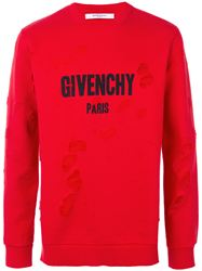 ÁO NỈ GIVENCHY DISTRESSED LOGO RED