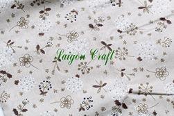 Vải linen hình hoa Bồ Công Anh trắng nâu