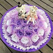Hoa gấu bông 2 gấu 30 hoa HG300J
