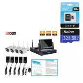 HKCAM ND99043 -  MÀN HÌNH LCD 7 INCH, BỘ ĐẦU GHI KIT + 4 CAMERA WIFI 960P,100% KHÔNG DÂY