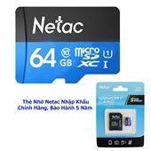 THẺ NHỚ NETAC 64GB, CHUẨN CLASS 10, UHS - I, TỐC ĐỘ CAO 90MB/S, CHÍNH HÃNG BẢO HÀNH 5 NĂM