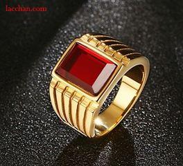 Nhẫn mạ vàng đá đỏ