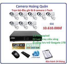 Trọn bộ đầu ghi 8 kênh J-Tech AHD8008B, 8 camera AHD5600 1.0MP