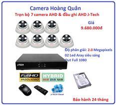 Trọn bộ 7 camera AHD 2.0 Megapixel & Đầu ghi AHD 8 kênh J-Tech
