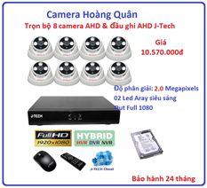 Trọn bộ 8 camera AHD 2.0 Megapixel & Đầu ghi AHD 8 kênh J-Tech