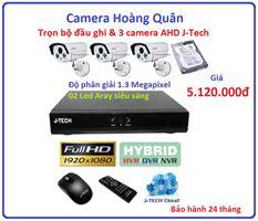 Trọn bộ đầu ghi J-Tech AHD8004B, 3 Camera 1.3 MP
