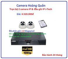 Trọn bộ 2 camera  IP 2.0 Megapixel & Đầu ghi IP 4 kênh J-Tech