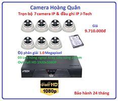 Trọn bộ 7 camera  IP 1.0 Megapixel & Đầu ghi IP 4 kênh J-Tech