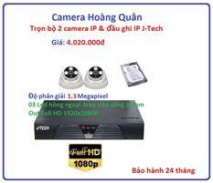 Trọn bộ 2 camera  IP 1.3 Megapixel & Đầu ghi IP 4 kênh J-Tech