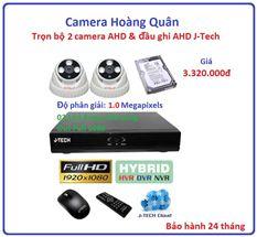 Trọn bộ 2 camera AHD 1.0 Megapixel & Đầu ghi AHD 4 kênh J-Tech