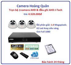 Trọn bộ 3 camera AHD 1.0 Megapixel & Đầu ghi AHD 4 kênh J-Tech