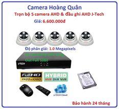 Trọn bộ 5 camera AHD 1.0 Megapixel & Đầu ghi AHD 8 kênh J-Tech