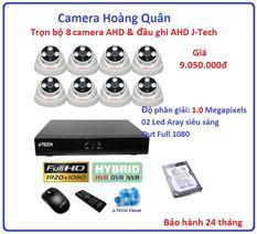 Trọn bộ 8 camera AHD 1.0 Megapixel & Đầu ghi AHD 8 kênh J-Tech