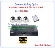 Trọn bộ 3 camera  IP 1.3 Megapixel & Đầu ghi IP 4 kênh J-Tech