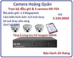 Trọn bộ đầu ghi Đầu ghi HD-TEK, 3 Camera 1.3 Mp