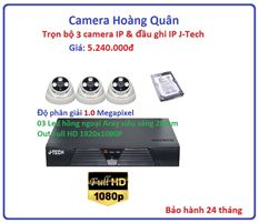 Trọn bộ 3 camera  IP 1.0 Megapixel & Đầu ghi IP 4 kênh J-Tech