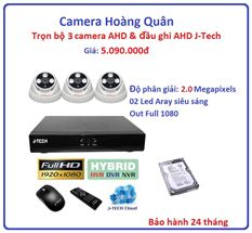 Trọn bộ 3 camera AHD 2.0 Megapixel & Đầu ghi AHD 4 kênh J-Tech