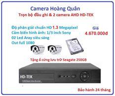 Lắp Đặt Camera Trọn Bộ 2 Camera HD-TEK 1.3MP