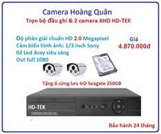 Lắp Đặt Camera Trọn Bộ 2 Camera HD-TEK 2.0MP