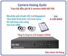 Trọn bộ đầu ghi Đầu ghi HD-TEK, 2 Camera 1.0 Mp