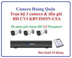 Lắp Đặt Camera Trọn Bộ 3 Camera HD CVI KBVISION 2.0Mp