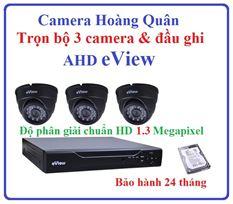 Trọn Bộ 3 Camera AHD eView 1.3Mp Và Đầu Ghi 4 Kênh