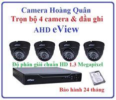 Trọn Bộ 4 Camera AHD eView 1.3Mp Và Đầu Ghi 4 Kênh
