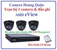Trọn Bộ 3 Camera AHD eView 1.0Mp Và Đầu Ghi 4 Kênh