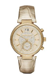 MICHAEL KORS Sawyer Champagne Crystal Pave Dial Leather