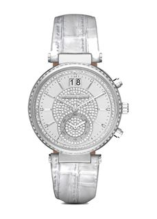 MICHAEL KORS Sawyer Silver Crystal Pave Dial Leather