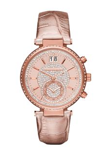 MICHAEL KORS Sawyer Rose Gold Crystal Pave Dial Leather