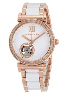 MICHAEL KORS Mini Catlin White Dial Rose Gold-Tone Steel and Ceramic