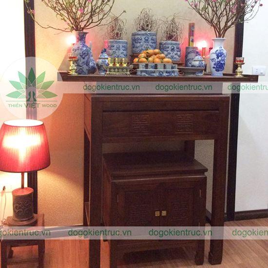 Bàn thờ gỗ Gụ hai cấp - Mẫu H05 - Size:107x61x127