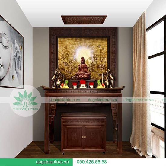 Bàn thờ gỗ gu hai cấp - Mẫu H09 - Size: 153x61x127