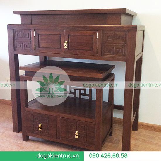 Tủ thờ gỗ Gụ hai cấp - Mẫu H04 - Size: 107x610x127