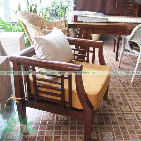 Sofa gỗ tự nhiên - Mẫu SF02 - Bộ Cát Tường