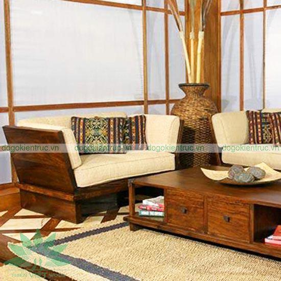 Sofa gỗ tự nhiên - Mẫu SF03 - Bộ Mộc Hoa