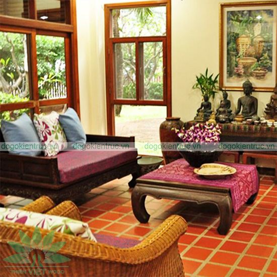 Sofa gỗ tự nhiên - Mẫu SP04 - Bộ Trà Hoa