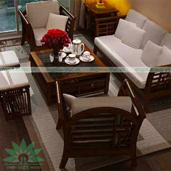 Sofa gỗ tự nhiên - Mẫu SF05 - Bộ Cúc Hoa