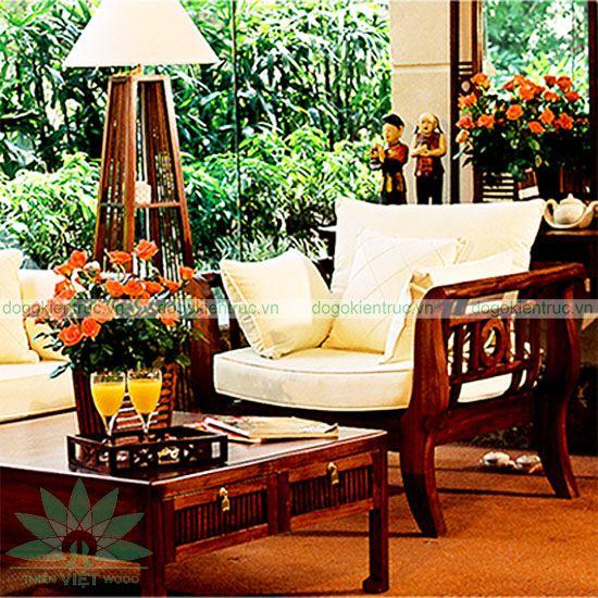 Sofa gỗ tự nhiên - SF08 - Bộ Liên Hoa