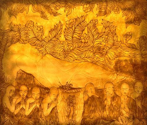 Tranh Phật nằm treo phòng thờ đẹp