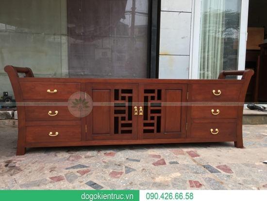 Mẫu kệ tivi gỗ gụ hiện đại