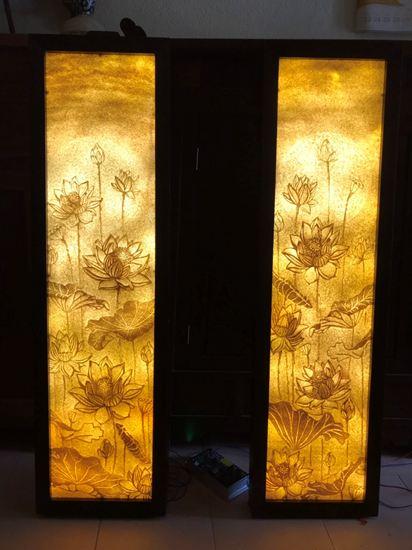 Tranh treo phòng thờ đẹp họa tiết hoa sen