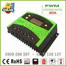Bộ điều khiển sạc pin mặt trời PWM 60A LCD hiển thị Ampe sạc