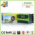 Bộ điều khiển sạc pin mặt trời PWM 20A LCD hiển thị Ampe sạc
