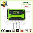 Bộ điều khiển sạc pin mặt trời PWM 30A LCD hiển thị Ampe sạc