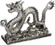 Tượng Rồng phong thủy màu bạc Oriental Furiniture 12 inch