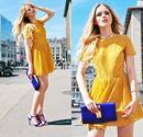 Cách phối trang phục vàng và xanh cobalt, bộ đôi hoàn hảo ngày nắng