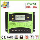 Điều khiển sạc pin mặt trời PWM 60A/48V LCD + hiển thị Ampe