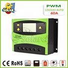 Điều khiển sạc pin mặt trời PWM 60A LCD + hiển thị Ampe
